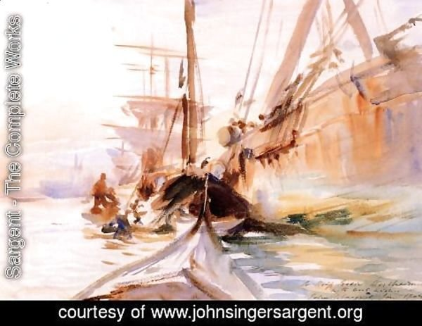 Sargent - Unloading Boats, Venice