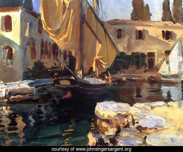 San Vigilio: A Boat with Golden Sail
