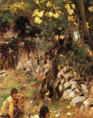 Sargent - Girls Gathering Blossoms, Valdemosa, Majorca