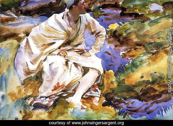 A Man Seated by a Stream, Val d'Aosta, Purtud