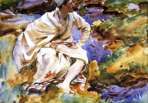 Sargent - A Man Seated by a Stream, Val d'Aosta, Purtud