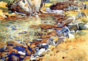 Sargent - Brook among Rocks