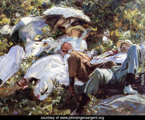Group with Parasols (or A Siesta)