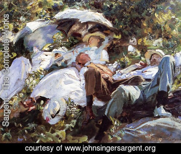 Sargent - Group with Parasols (or A Siesta)