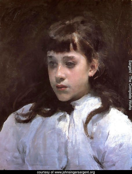 Young Girl Wearing a White Muslin Blouse