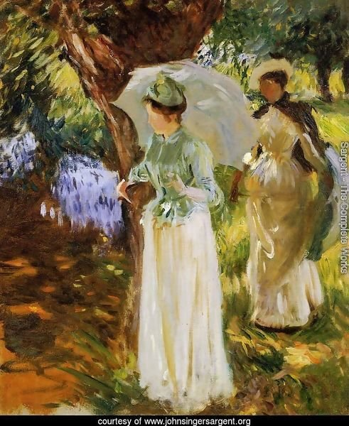 Two Girls with Parasols at Fladbury