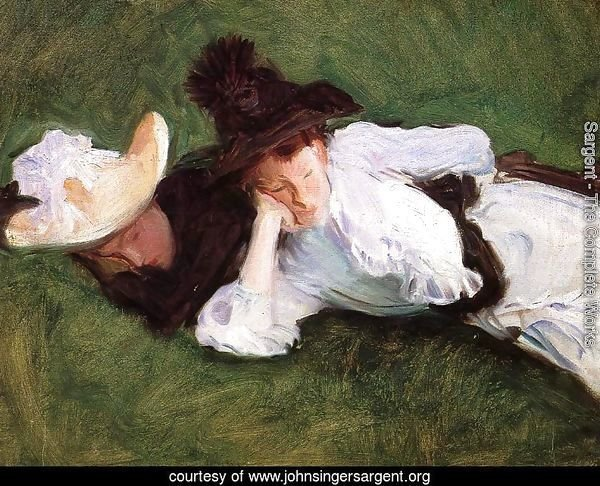 Two Girls Lying on the Grass