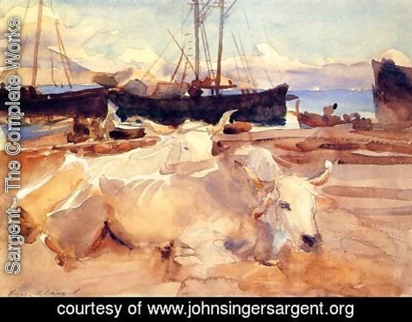 Sargent - Oxen on the Beach at Baia