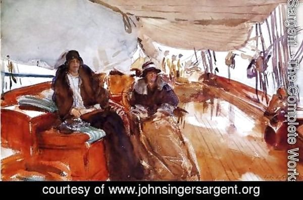 Sargent - Rainy Day on the Deck of the Yacht Constellation