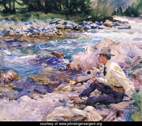Man Seated by a Stream