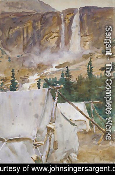 Sargent - Camp and Waterfall 1916