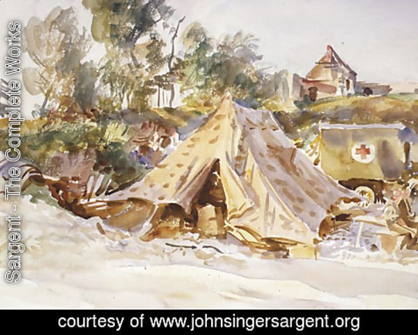 Sargent - Camp with Ambulance 1918