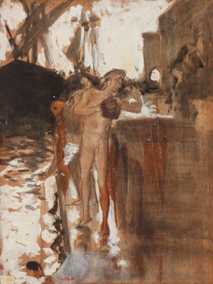 Sargent - The Balcony Spain and Two Nude Bathers Standing on a Wharf