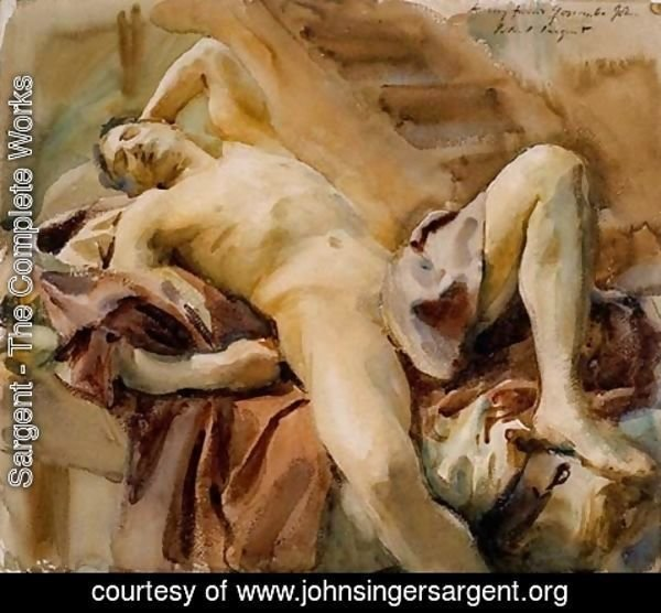 Sargent - Reclining Nude Male Model