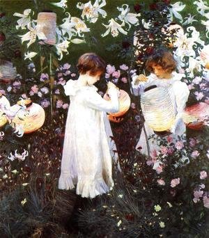 Sargent - Carnation, Lily, Lily, Rose, from 'The World's Greatest Paintings' published by Oldham's Press in 1920