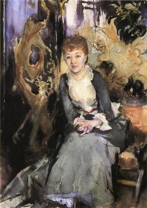 Miss Reubell Seated In Front Of A Screen