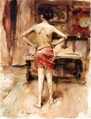 Sargent - The Model  Interior With Standing Figure